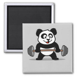 Square Magnet with Cute Weightlifting Panda design