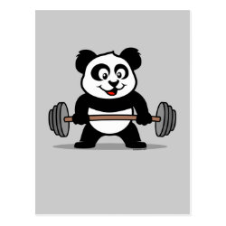 Postcard with Cute Weightlifting Panda design