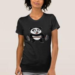 Women's American Apparel Fine Jersey Short Sleeve T-Shirt with Cute Weightlifting Panda design