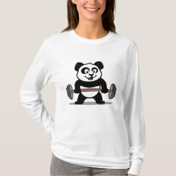 Women's Basic Long Sleeve T-Shirt with Cute Weightlifting Panda design