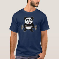 Men's Basic Dark T-Shirt with Cute Weightlifting Panda design