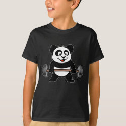 Kids' Hanes TAGLESS® T-Shirt with Cute Weightlifting Panda design