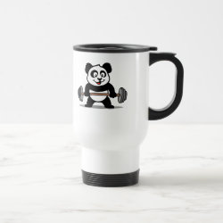 Travel / Commuter Mug with Cute Weightlifting Panda design