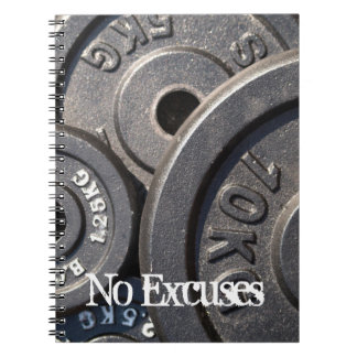 Weightlifting Plates, No Excuses Notebook