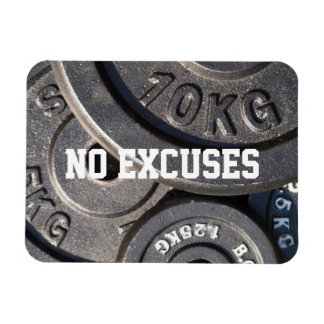 """Weightlifting Plates, """"No Excuses"""" Rectangular Photo Magnet"""
