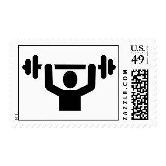 Weightlifting powerlifting postage stamp