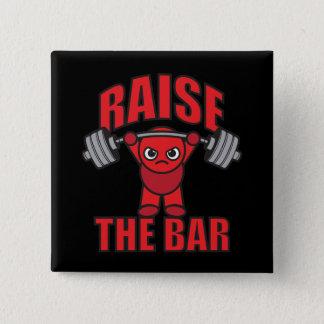 Weightlifting - Raise The Bar - Kawaii Motivation Pinback Button