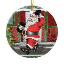 Weightlifting Santa Ceramic Ornament