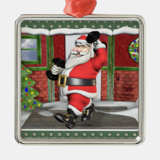Weightlifting Santa Premium Square Ornament