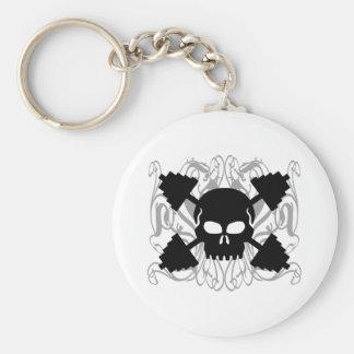 Weightlifting Skull Basic Round Button Keychain