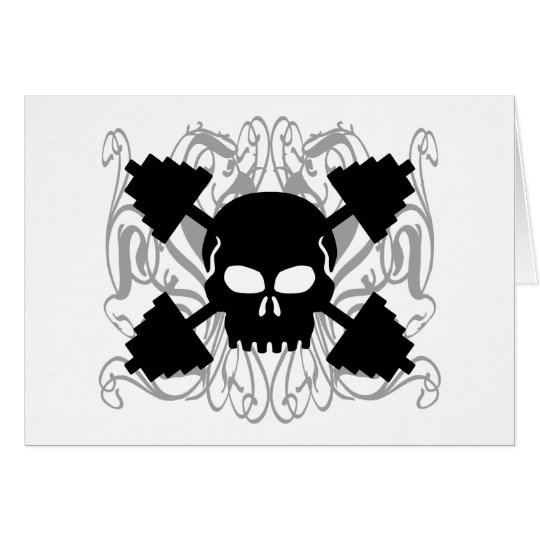 Weightlifting Skull Card