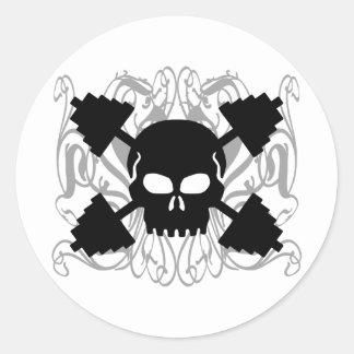 Weightlifting Skull Classic Round Sticker
