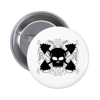Weightlifting Skull Pinback Button