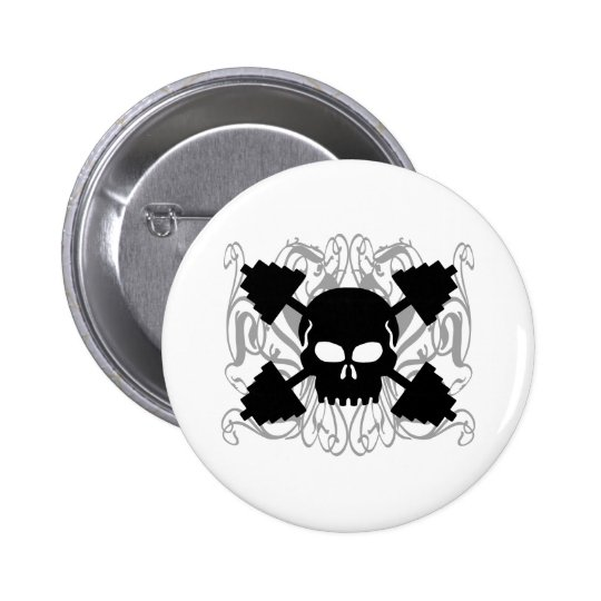 Weightlifting Skull Pinback Button