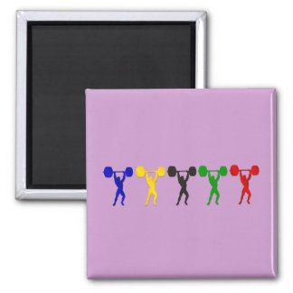 Weightlifting Snatch Clean and Jerk sports 2 Inch Square Magnet