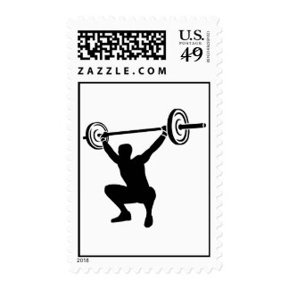 Weightlifting sports stamp