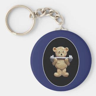 Weightlifting Teddy Bear Basic Round Button Keychain