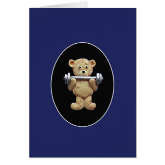 Weightlifting Teddy Bear Greeting Card