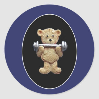 Weightlifting Teddy Bear Classic Round Sticker