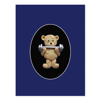 Weightlifting Teddy Bear Postcard