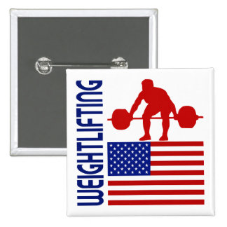 Weightlifting United States Pinback Button