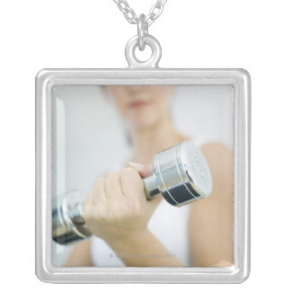 Weightlifting. Woman lifting dumbbells. This Custom Necklace