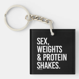 Weights and Protein Shakes -   Girl Fitness -.png Keychain