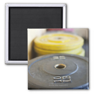 Weights at Gym, Newport Beach, Orange County, 2 Inch Square Magnet