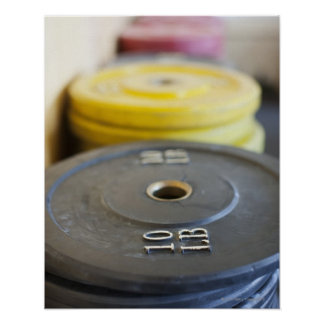 Weights at Gym, Newport Beach, Orange County, Poster