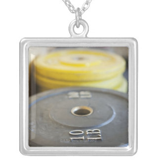 Weights at Gym, Newport Beach, Orange County, Silver Plated Necklace