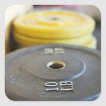 Weights at Gym, Newport Beach, Orange County, Square Stickers