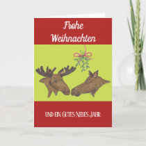 Weihnachstkarte with a moose pair holiday card