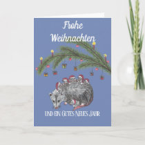 Weihnachstkarte with an opossum a family holiday card
