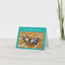 Weihnachstkarte with sweet pair of penguins holiday card