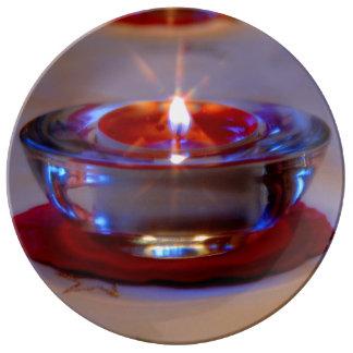 Weihnacht, adviento, candela ardiente roja feriada plato de cerámica