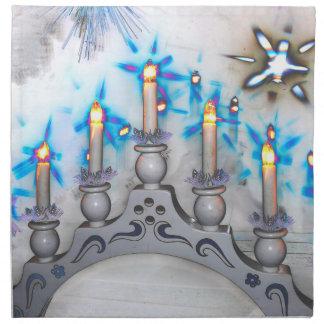 Weihnacht, adviento, candelas ardientes blancas fe servilleta de papel