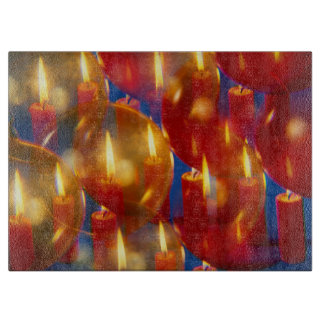 Weihnacht, adviento, candelas ardientes rojas feri tablas de cortar