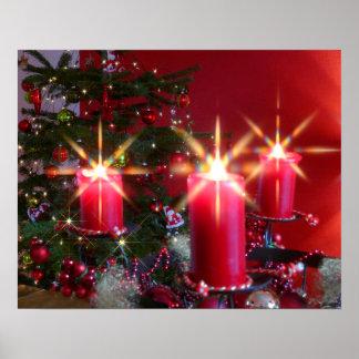 Weihnacht, adviento, candelas ardientes rosas feri póster