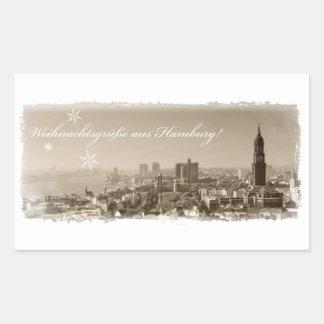 Weihnachtsgrüße de Hamburgo, Tarjeta de navidad, p Pegatina Rectangular