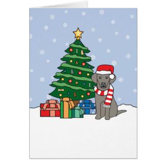 Weimaraner and Christmas Tree Card