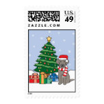 Weimaraner and Christmas Tree Postage Stamps