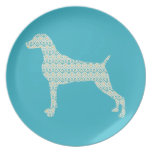 WEIMARANER AND PEACOCK FEATHERS SILHOUETTE PLATE
