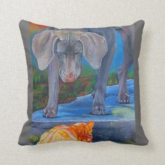 Weimaraner and Tabby Cat MoJo Pillow