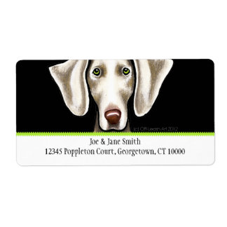 Weimaraner Black n Olive Traditional Shipping Label