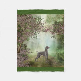 """Weimaraner Blossom Orchard """"30x40"""" Fleece Blanket"""