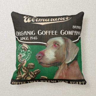 Weimaraner Brand – Organic Coffee Company Throw Pillow