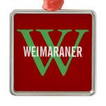 Weimaraner Breed Monogram Design Metal Ornament
