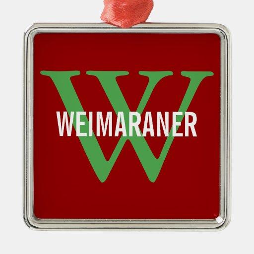 Weimaraner Breed Monogram Design Christmas Tree Ornament