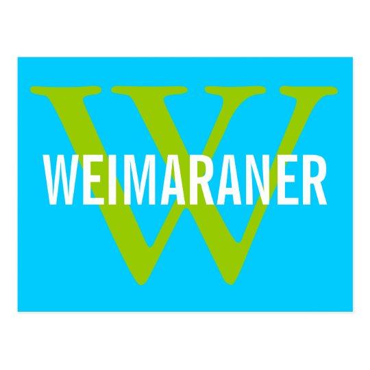 Weimaraner Breed Monogram Design Postcard