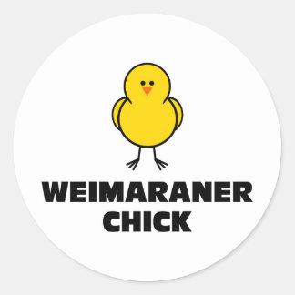 Weimaraner Chick Classic Round Sticker